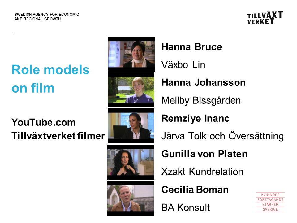 SWEDISH AGENCY FOR ECONOMIC AND REGIONAL GROWTH Role models on film YouTube.com Tillväxtverket filmer Hanna Bruce Växbo Lin Hanna Johansson Mellby Bis