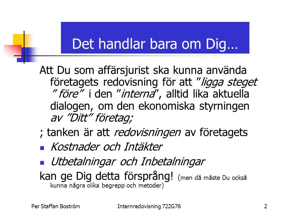 Per Staffan Boström, PSBInternredovisning 722G763...och verkligheten Per Staffan Boström Civilekonom 1976 (ORU) Forskarutbildning 2004-2005 (ORU, HGU, LiU) Industridoktorand LiU (ABB) SAAB Personbilar, BC + MM RESCO AB, GKAM (ABB) ABB AB, Ledningskonsult