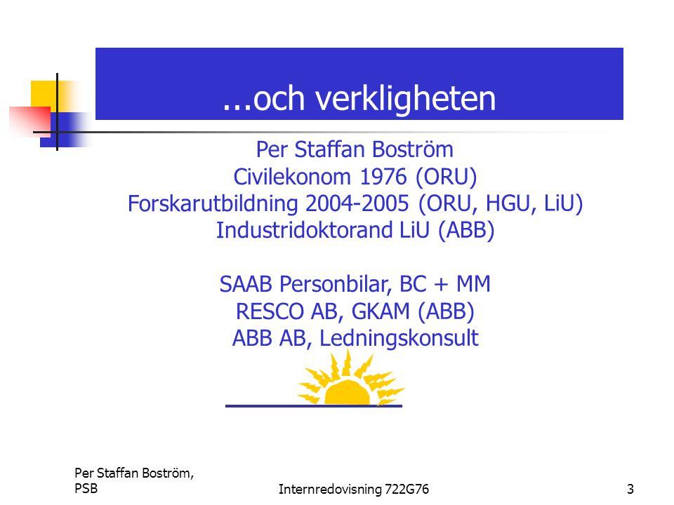 Per Staffan Boström, PSBInternredovisning 722G763...och verkligheten Per Staffan Boström Civilekonom 1976 (ORU) Forskarutbildning 2004-2005 (ORU, HGU,