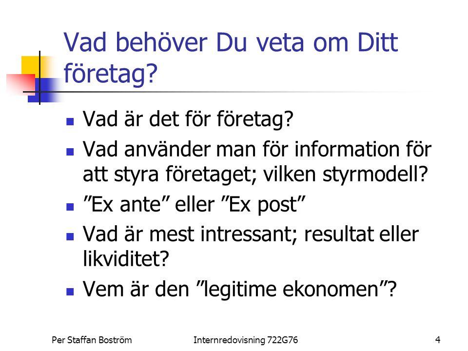 Per Staffan BoströmInternredovisning 722G764 Vad behöver Du veta om Ditt företag? Vad är det för företag? Vad använder man för information för att sty