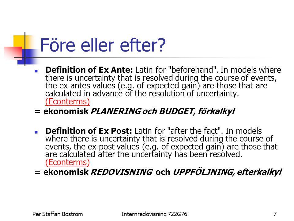 Per Staffan BoströmInternredovisning 722G767 Före eller efter? Definition of Ex Ante: Latin for