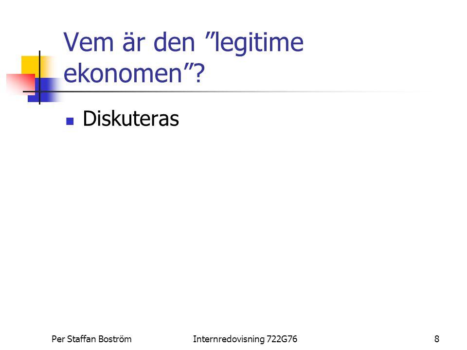 """Per Staffan BoströmInternredovisning 722G768 Vem är den """"legitime ekonomen""""? Diskuteras"""