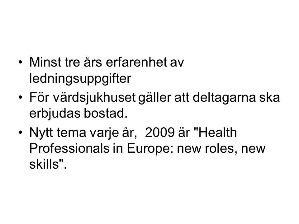 Åliggande Ansökan prövas, språktest via telefon.Presentation om svensk sjukvård i värdlandet.