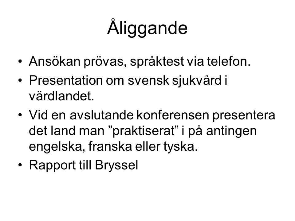 Åliggande Ansökan prövas, språktest via telefon. Presentation om svensk sjukvård i värdlandet.