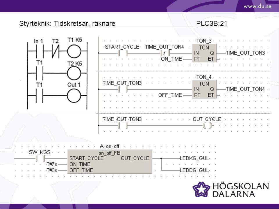 Styrteknik: Tidskretsar, räknare PLC3B:21