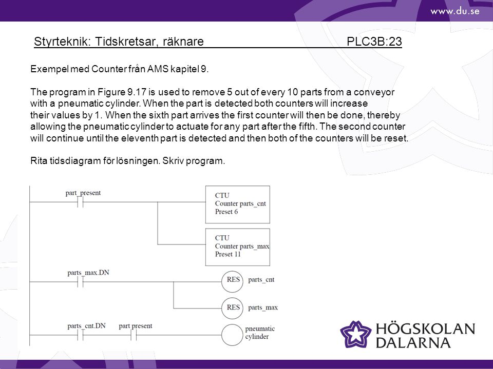 Styrteknik: Tidskretsar, räknare PLC3B:23 Exempel med Counter från AMS kapitel 9. The program in Figure 9.17 is used to remove 5 out of every 10 parts