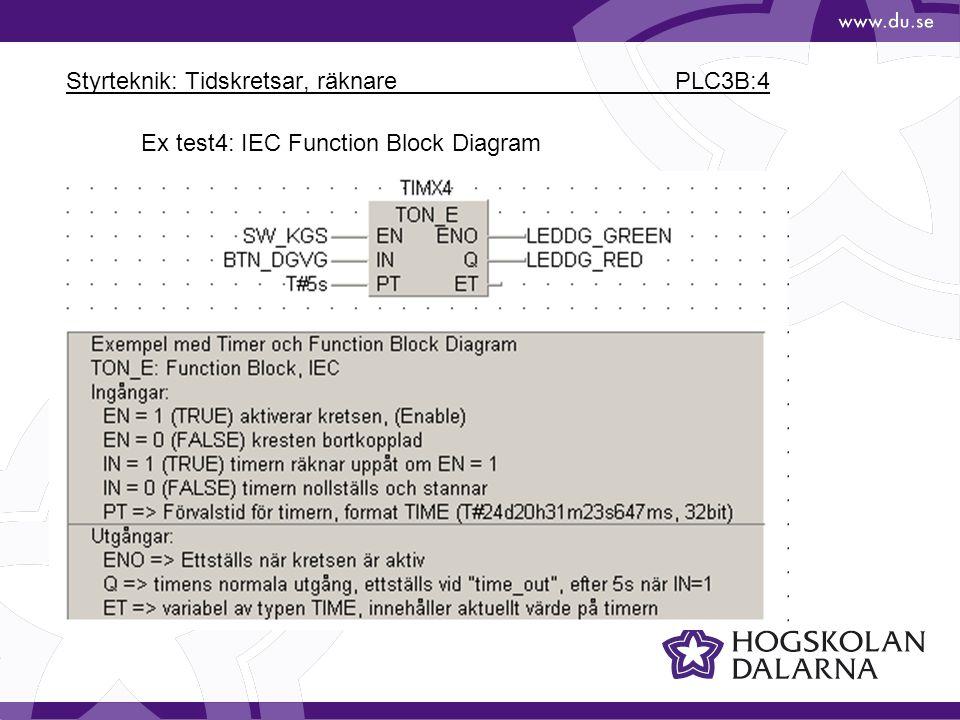 Styrteknik: Tidskretsar, räknare PLC3B:4 Ex test4: IEC Function Block Diagram