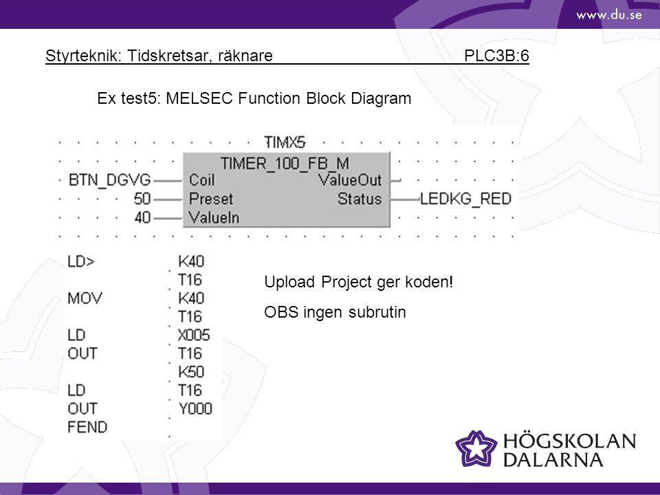 Styrteknik: Tidskretsar, räknare PLC3B:6 Ex test5: MELSEC Function Block Diagram Upload Project ger koden! OBS ingen subrutin