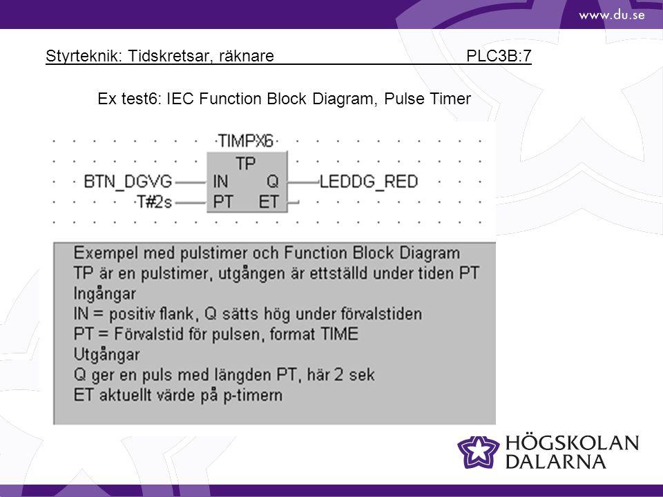 Styrteknik: Tidskretsar, räknare PLC3B:7 Ex test6: IEC Function Block Diagram, Pulse Timer