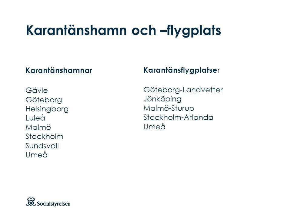 Att visa fotnot, datum, sidnummer Klicka på fliken Infoga och klicka på ikonen sidhuvud/sidfot Klistra in text: Klistra in texten, klicka på ikonen (Ctrl), välj Behåll endast text Karantänshamn och –flygplats Karantänshamnar Gävle Göteborg Helsingborg Luleå Malmö Stockholm Sundsvall Umeå Karantänsflygplatse r Göteborg-Landvetter Jönköping Malmö-Sturup Stockholm-Arlanda Umeå