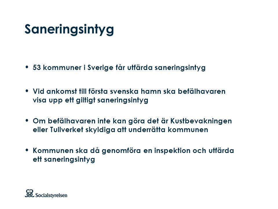 Att visa fotnot, datum, sidnummer Klicka på fliken Infoga och klicka på ikonen sidhuvud/sidfot Klistra in text: Klistra in texten, klicka på ikonen (Ctrl), välj Behåll endast text Punktlista nivå 1: Century Gothic, bold 19pt Nivå 2: Century Gothic normal 19pt Rubrik: Century Gothic, bold 33pt Saneringsintyg 53 kommuner i Sverige får utfärda saneringsintyg Vid ankomst till första svenska hamn ska befälhavaren visa upp ett giltigt saneringsintyg Om befälhavaren inte kan göra det är Kustbevakningen eller Tullverket skyldiga att underrätta kommunen Kommunen ska då genomföra en inspektion och utfärda ett saneringsintyg