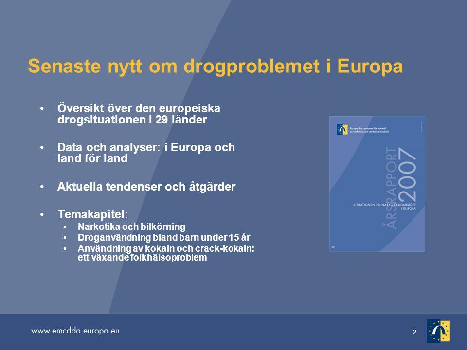 2 Senaste nytt om drogproblemet i Europa Översikt över den europeiska drogsituationen i 29 länder Data och analyser: i Europa och land för land Aktuel