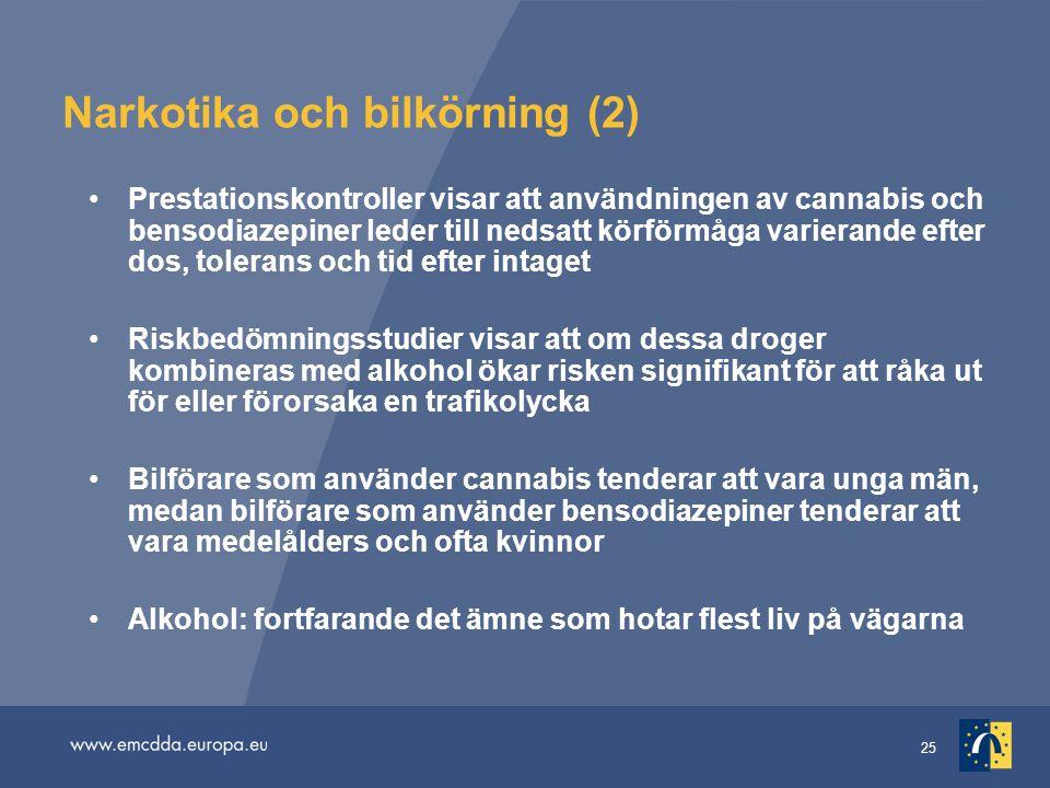 25 Narkotika och bilkörning (2) Prestationskontroller visar att användningen av cannabis och bensodiazepiner leder till nedsatt körförmåga varierande