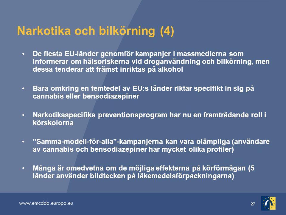 27 Narkotika och bilkörning (4) De flesta EU-länder genomför kampanjer i massmedierna som informerar om hälsoriskerna vid droganvändning och bilkörnin