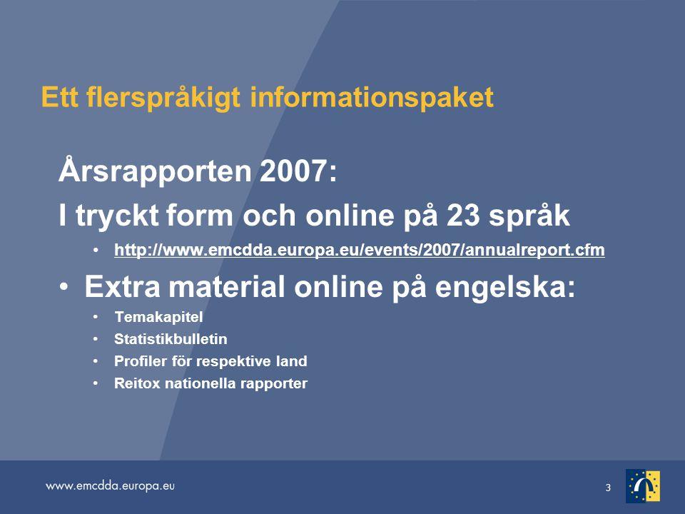 3 Ett flerspråkigt informationspaket Årsrapporten 2007: I tryckt form och online på 23 språk http://www.emcdda.europa.eu/events/2007/annualreport.cfm