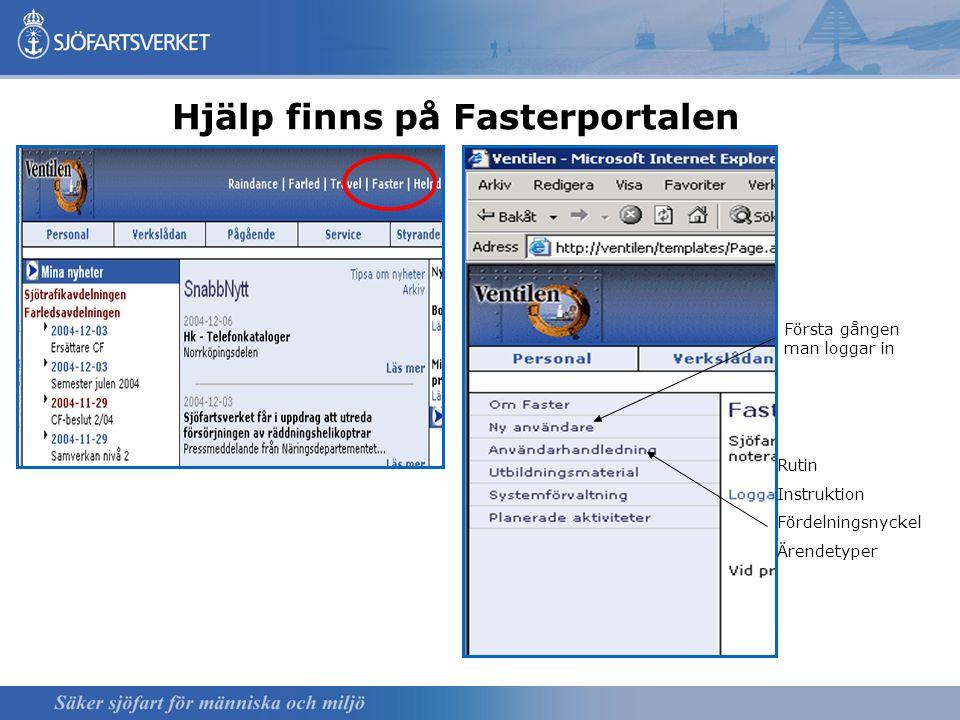 Hjälp finns på Fasterportalen Första gången man loggar in Rutin Instruktion Fördelningsnyckel Ärendetyper