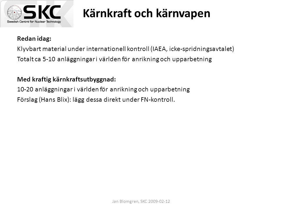 Jan Blomgren, SKC 2009-02-12 Kärnkraft och kärnvapen Redan idag: Klyvbart material under internationell kontroll (IAEA, icke-spridningsavtalet) Totalt