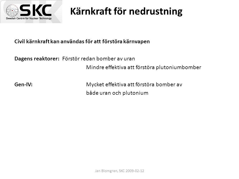Jan Blomgren, SKC 2009-02-12 Kärnkraft för nedrustning Civil kärnkraft kan användas för att förstöra kärnvapen Dagens reaktorer: Förstör redan bomber