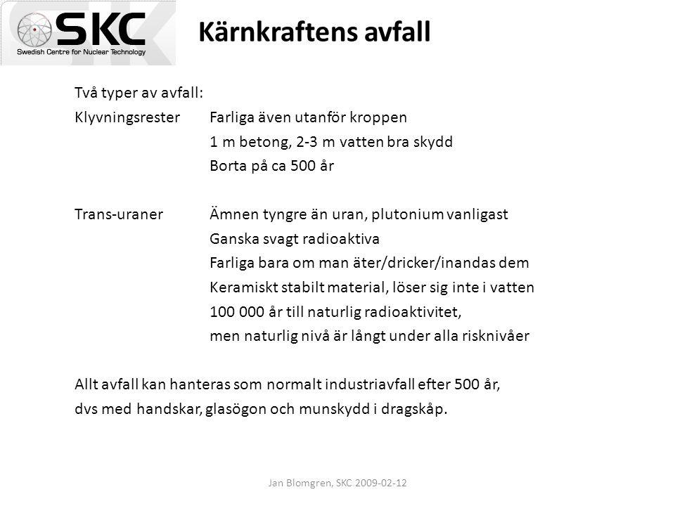 Jan Blomgren, SKC 2009-02-12 Kärnkraftens avfall Två typer av avfall: KlyvningsresterFarliga även utanför kroppen 1 m betong, 2-3 m vatten bra skydd B