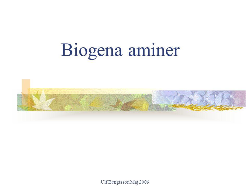 Ulf Bengtsson Maj 2009 Möjliga orsaker till ökad känslighet mot biogena aminer Hög koncentration av histamin i föda Kombinerad effekt av histamin och andra aminer (ex.