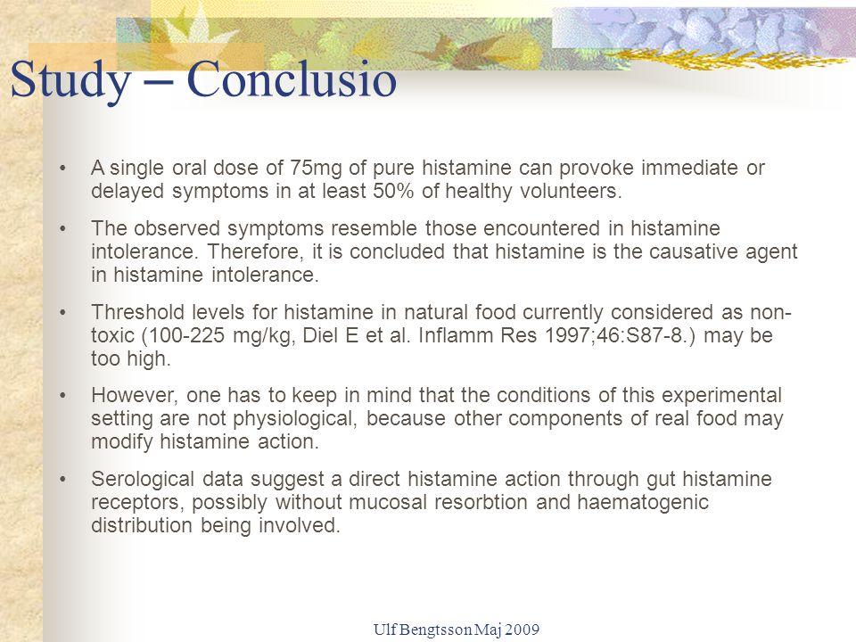 Ulf Bengtsson Maj 2009 Biogena aminer i livsmedel Lagrade produkter (kött, fisk, mjölk) kan innehålla höga nivåer av biogena aminer (histamin, tyramin, tryptamin, serotonin fenyletylamin) Vin förstärker symtomen pga 1.