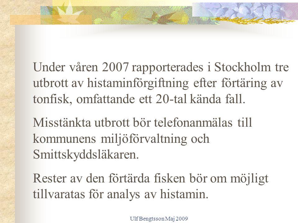 Ulf Bengtsson Maj 2009 Under våren 2007 rapporterades i Stockholm tre utbrott av histaminförgiftning efter förtäring av tonfisk, omfattande ett 20-tal kända fall.