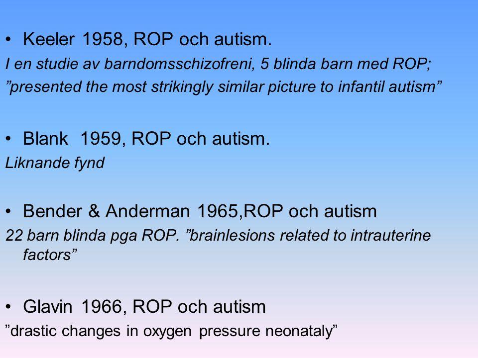 """Keeler 1958, ROP och autism. I en studie av barndomsschizofreni, 5 blinda barn med ROP; """"presented the most strikingly similar picture to infantil aut"""