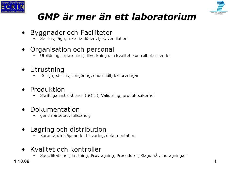 1.10.084 GMP är mer än ett laboratorium Byggnader och Faciliteter –Storlek, läge, materialflöden, ljus, ventilation Organisation och personal –Utbildning, erfarenhet, tillverkning och kvalitetskontroll oberoende Utrustning –Design, storlek, rengöring, underhåll, kalibreringar Produktion –Skriftliga instruktioner (SOPs), Validering, produktsäkerhet Dokumentation –genomarbetad, fullständig Lagring och distribution –Karantän/frisläppande, förvaring, dokumentation Kvalitet och kontroller –Specifikationer, Testning, Provtagning, Procedurer, Klagomål, Indragningar