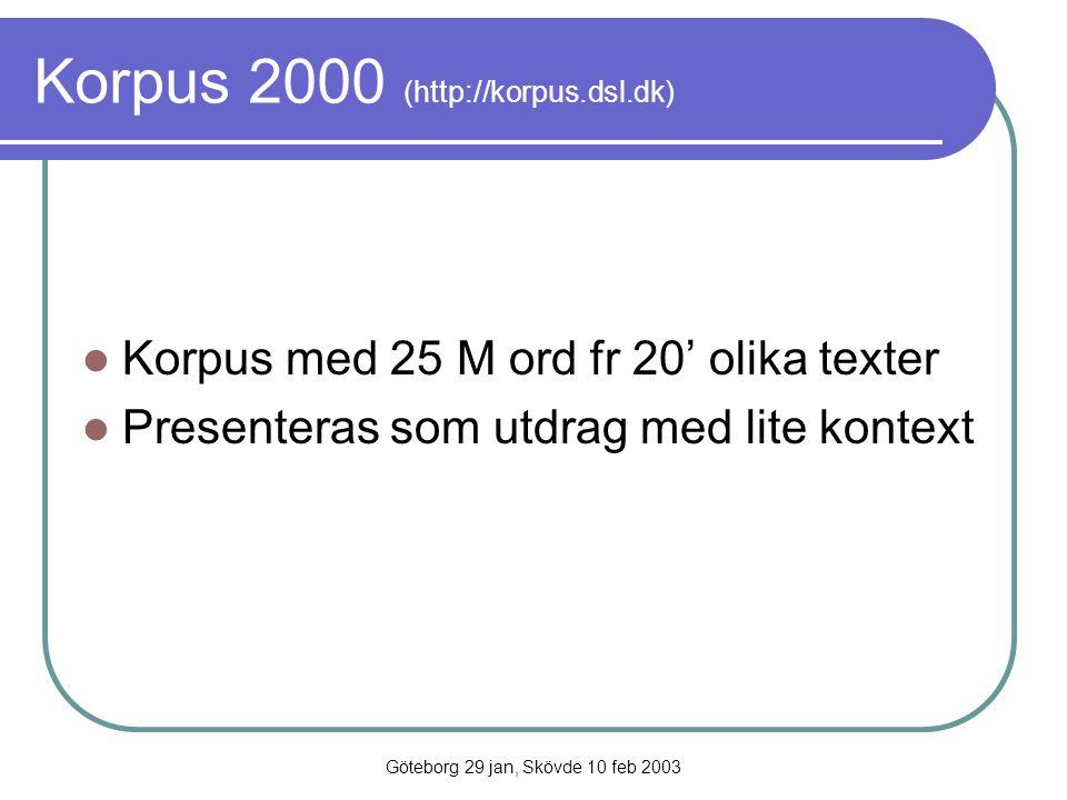 Göteborg 29 jan, Skövde 10 feb 2003 Korpus 2000 (http://korpus.dsl.dk) Korpus med 25 M ord fr 20' olika texter Presenteras som utdrag med lite kontext