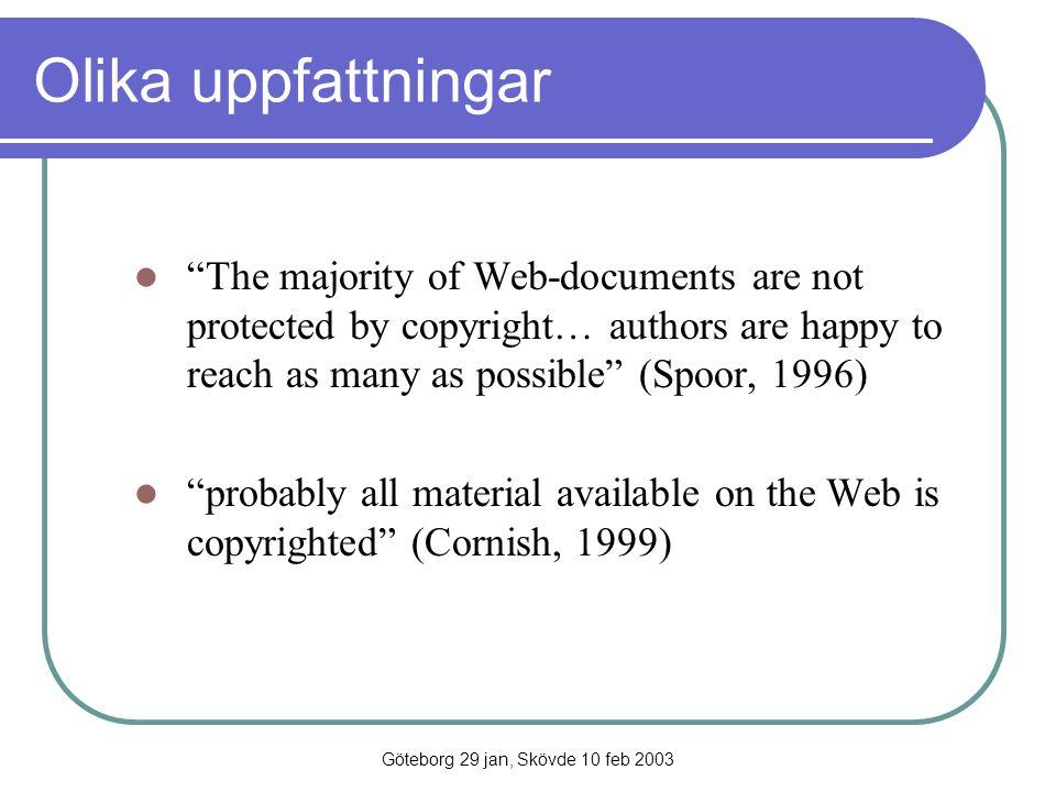 Göteborg 29 jan, Skövde 10 feb 2003 WebCorp (http://www.webcorp.org.uk ) (University of Liverpool) Verktyg för - Webben som korpus WebCorp varken lagrar eller publicerar text presenterar konkordanser med lite kontext