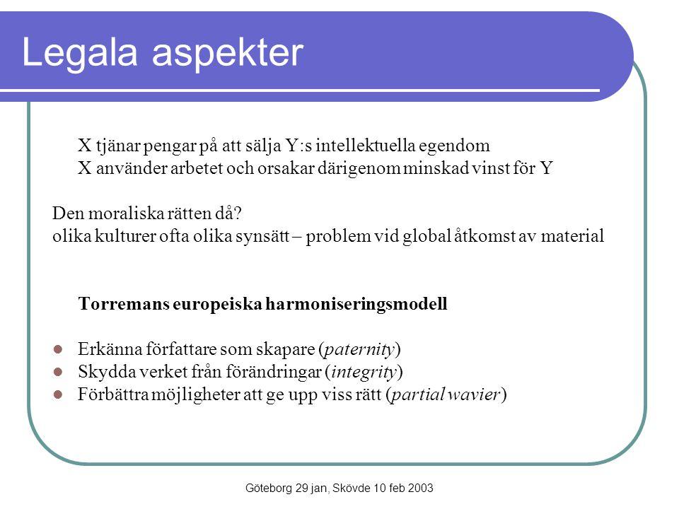 Göteborg 29 jan, Skövde 10 feb 2003 Legala aspekter X tjänar pengar på att sälja Y:s intellektuella egendom X använder arbetet och orsakar därigenom m