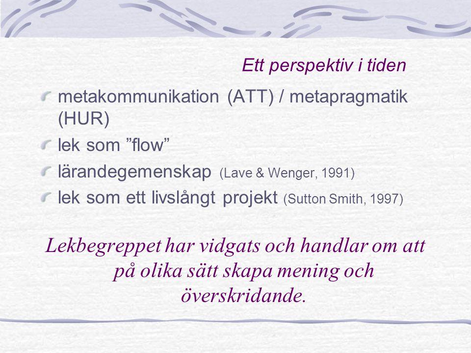 """Ett perspektiv i tiden metakommunikation (ATT) / metapragmatik (HUR) lek som """"flow"""" lärandegemenskap (Lave & Wenger, 1991) lek som ett livslångt proje"""
