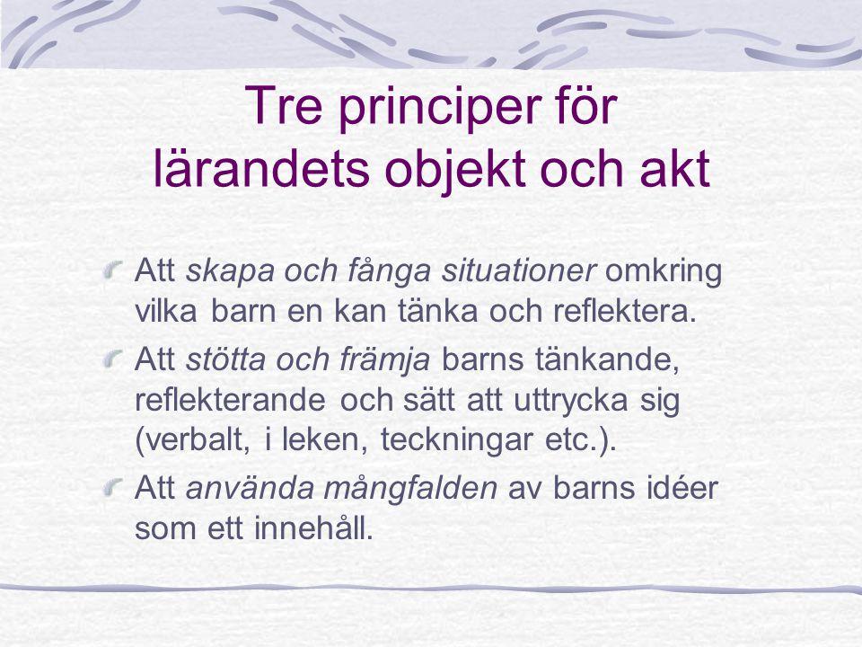 Tre principer för lärandets objekt och akt Att skapa och fånga situationer omkring vilka barn en kan tänka och reflektera. Att stötta och främja barns