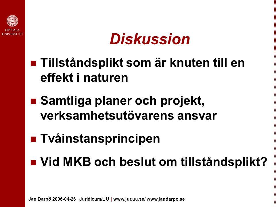 Jan Darpö 2006-04-26 Juridicum/UU | www.jur.uu.se/ www.jandarpo.se Diskussion Tillståndsplikt som är knuten till en effekt i naturen Samtliga planer och projekt, verksamhetsutövarens ansvar Tvåinstansprincipen Vid MKB och beslut om tillståndsplikt?