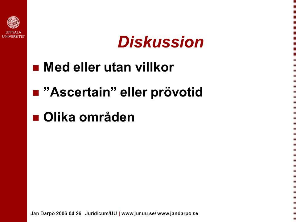 Jan Darpö 2006-04-26 Juridicum/UU | www.jur.uu.se/ www.jandarpo.se Diskussion Med eller utan villkor Ascertain eller prövotid Olika områden