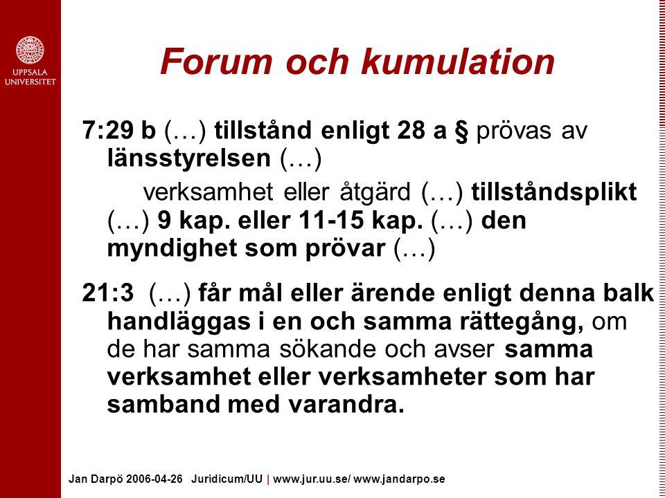 Jan Darpö 2006-04-26 Juridicum/UU | www.jur.uu.se/ www.jandarpo.se Forum och kumulation 7:29 b (…) tillstånd enligt 28 a § prövas av länsstyrelsen (…) verksamhet eller åtgärd (…) tillståndsplikt (…) 9 kap.