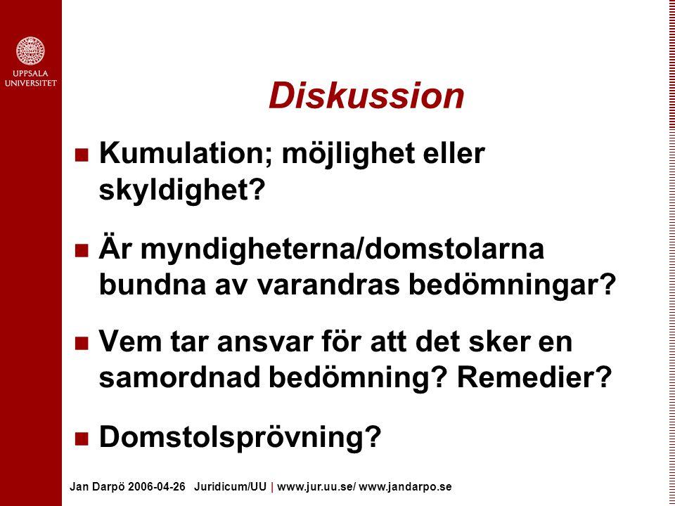 Jan Darpö 2006-04-26 Juridicum/UU | www.jur.uu.se/ www.jandarpo.se De olika skrivningarna… 6:7 kan antas påverka miljön 19 § OF: kan påverka miljön 17:3 1 st 2 p: kan antas mer än obetydligt skada naturvärdena inom området Miljöansvarsdirektivet och förslaget till 10:1 2 p; skador på biologisk mångfald som i betydande omfattning hindrar eller motverkar att en gynnsam bevarandestatus kan uppnås eller bibehållas… .