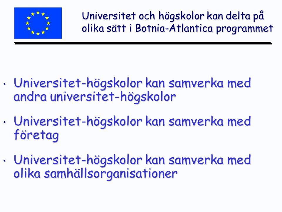 Universitet och högskolor kan delta på olika sätt i Botnia-Atlantica programmet Universitet-högskolor kan samverka med andra universitet-högskolor Universitet-högskolor kan samverka med andra universitet-högskolor Universitet-högskolor kan samverka med företag Universitet-högskolor kan samverka med företag Universitet-högskolor kan samverka med olika samhällsorganisationer Universitet-högskolor kan samverka med olika samhällsorganisationer