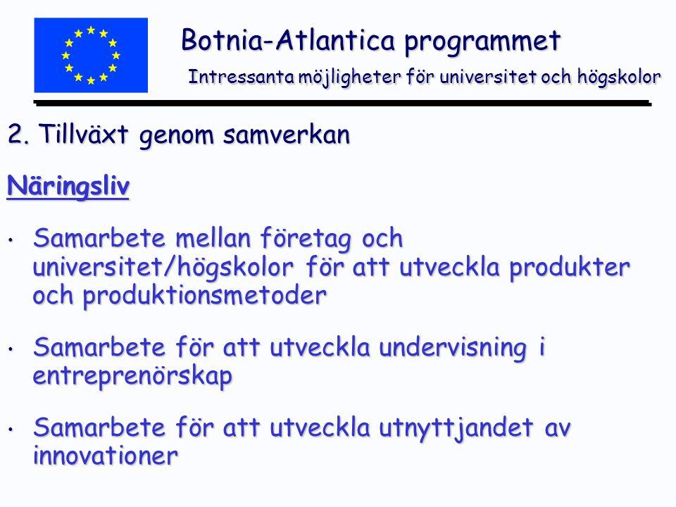 Botnia-Atlantica programmet Intressanta möjligheter för universitet och högskolor 2.