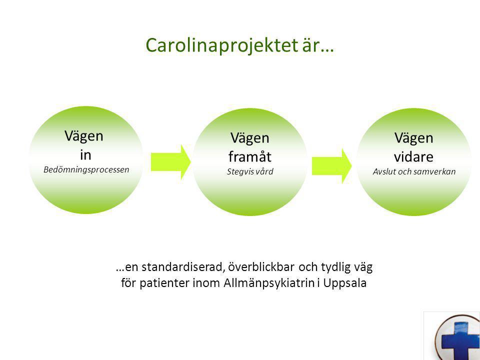 Carolinaprojektet är… …en standardiserad, överblickbar och tydlig väg för patienter inom Allmänpsykiatrin i Uppsala Vägen in Bedömningsprocessen Vägen framåt Stegvis vård Vägen vidare Avslut och samverkan