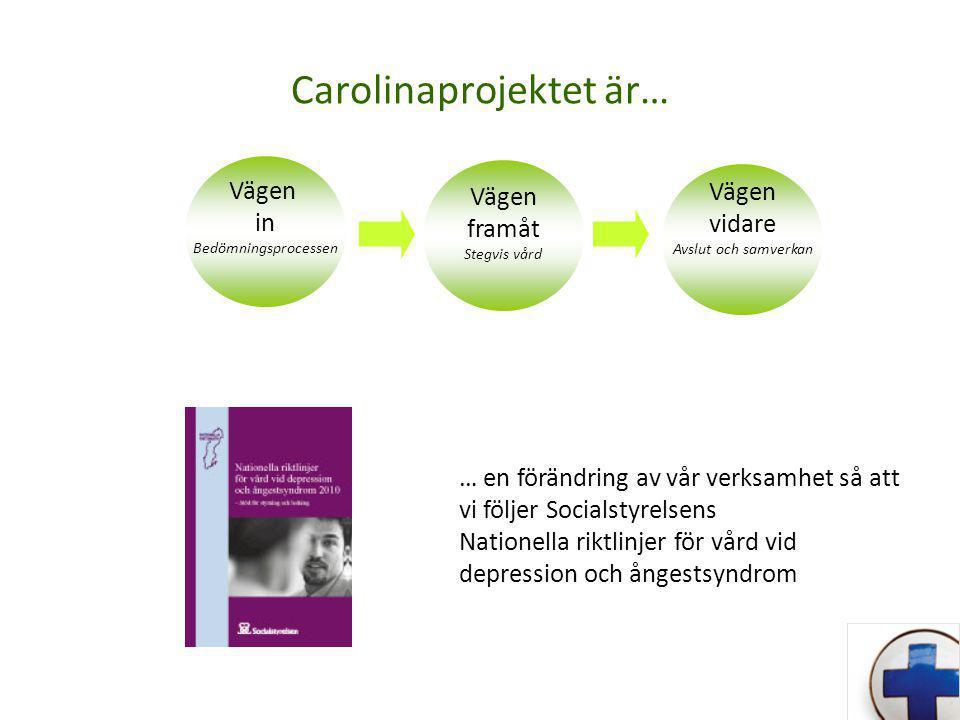 Carolinaprojektet är… Vägen in Bedömningsprocessen Vägen framåt Stegvis vård Vägen vidare Avslut och samverkan … en förändring av vår verksamhet så att vi följer Socialstyrelsens Nationella riktlinjer för vård vid depression och ångestsyndrom