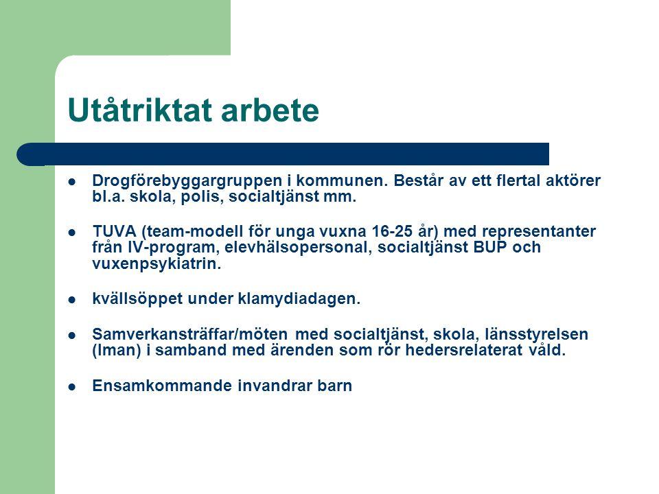 Utåtriktat arbete Drogförebyggargruppen i kommunen.