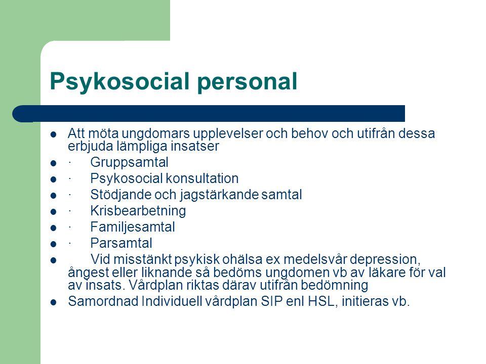 Psykosocial personal Att möta ungdomars upplevelser och behov och utifrån dessa erbjuda lämpliga insatser · Gruppsamtal · Psykosocial konsultation · Stödjande och jagstärkande samtal · Krisbearbetning · Familjesamtal · Parsamtal Vid misstänkt psykisk ohälsa ex medelsvår depression, ångest eller liknande så bedöms ungdomen vb av läkare för val av insats.