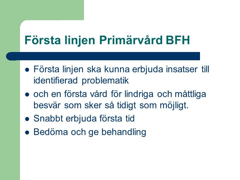 Första linjen Primärvård BFH Första linjen ska kunna erbjuda insatser till identifierad problematik och en första vård för lindriga och måttliga besvär som sker så tidigt som möjligt.
