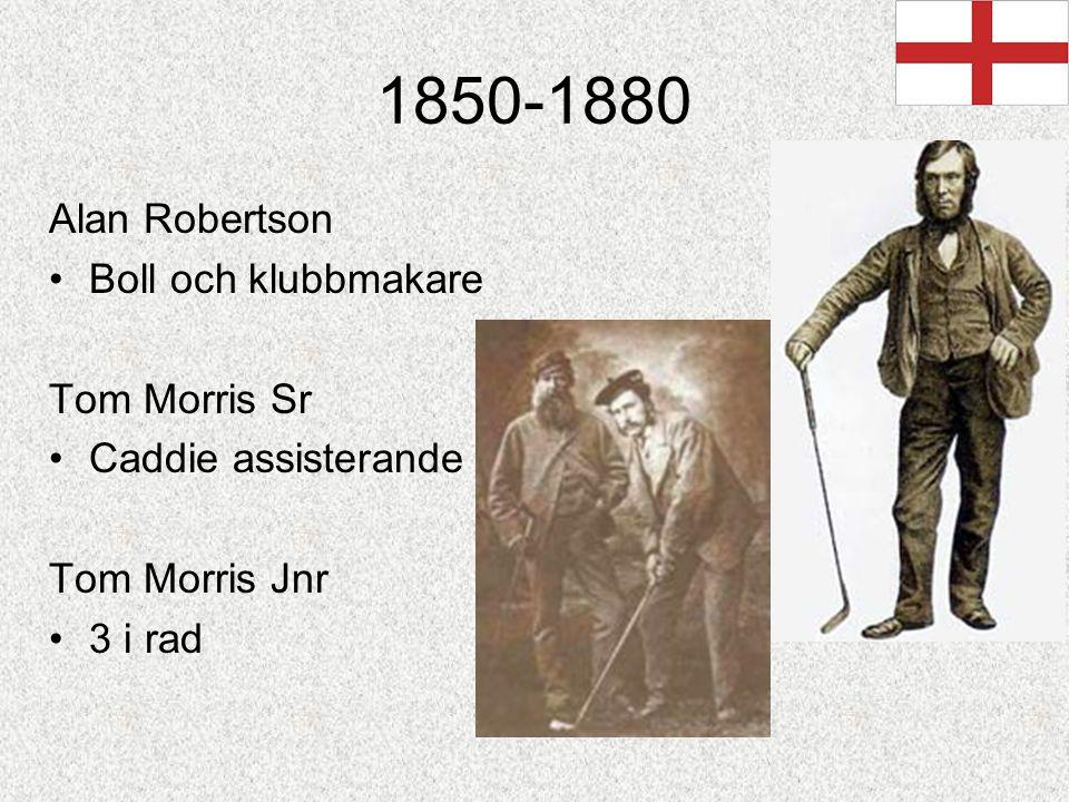 1850-1880 Alan Robertson Boll och klubbmakare Tom Morris Sr Caddie assisterande Tom Morris Jnr 3 i rad