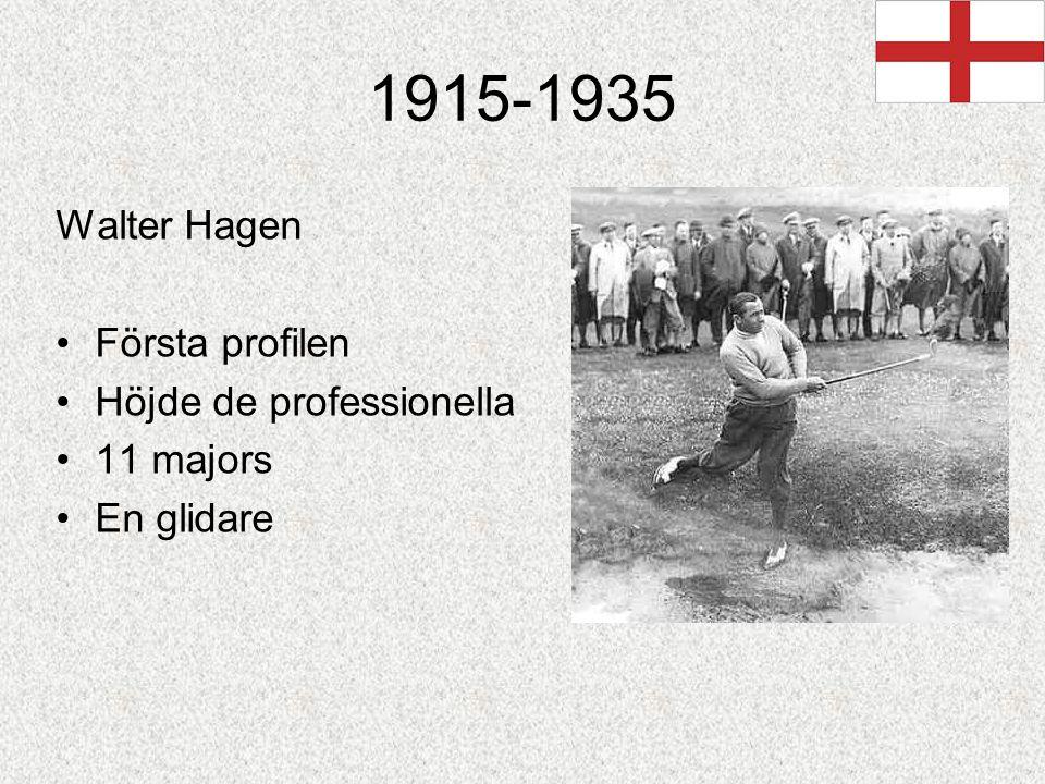 1915-1935 Walter Hagen Första profilen Höjde de professionella 11 majors En glidare
