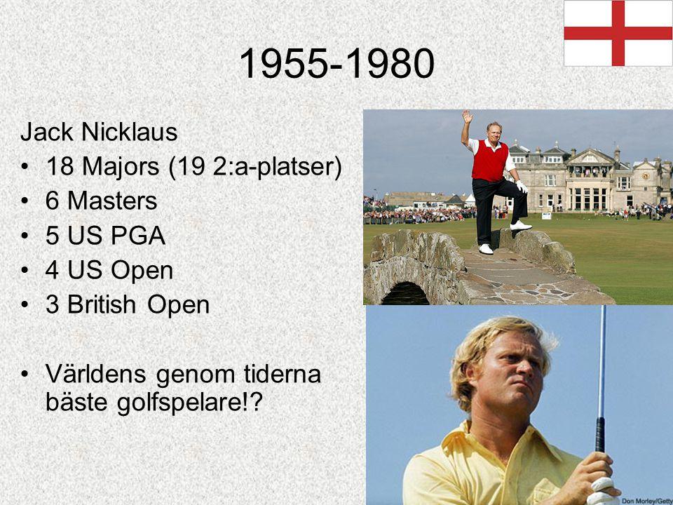 1955-1980 Jack Nicklaus 18 Majors (19 2:a-platser) 6 Masters 5 US PGA 4 US Open 3 British Open Världens genom tiderna bäste golfspelare!?
