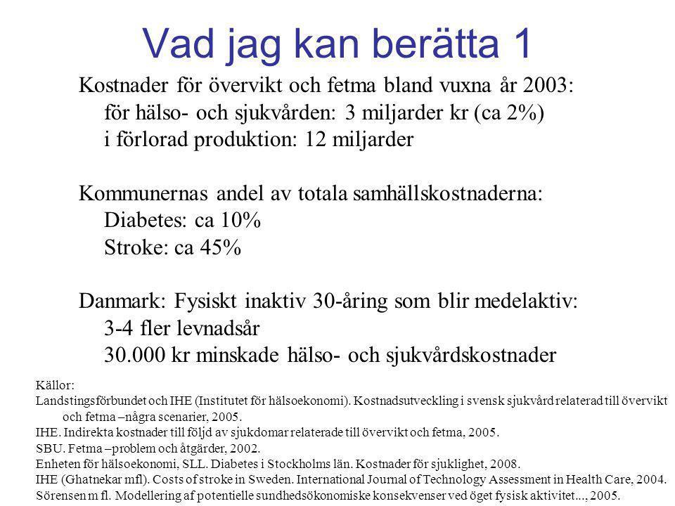 Vad jag kan berätta 1 Kostnader för övervikt och fetma bland vuxna år 2003: för hälso- och sjukvården: 3 miljarder kr (ca 2%) i förlorad produktion: 1