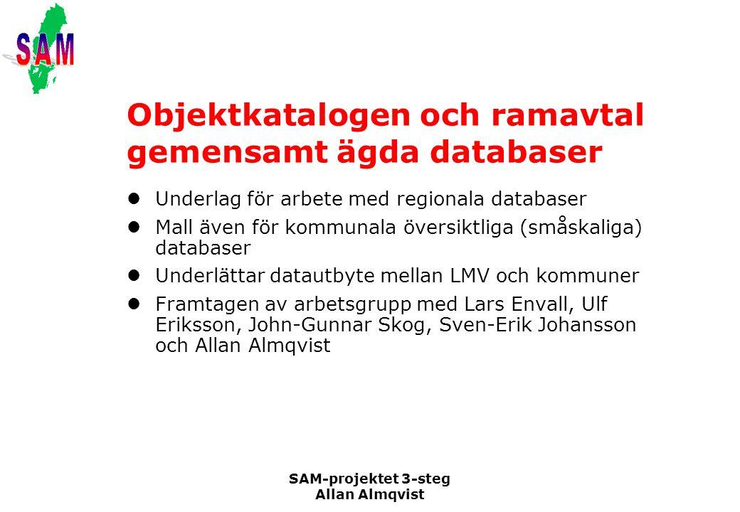 SAM-projektet 3-steg Allan Almqvist Objektkatalogen och ramavtal gemensamt ägda databaser Underlag för arbete med regionala databaser Mall även för ko