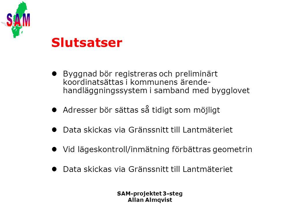 SAM-projektet 3-steg Allan Almqvist Slutsatser Byggnad bör registreras och preliminärt koordinatsättas i kommunens ärende- handläggningssystem i samba